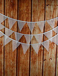 3.2m 12 Flags White Banner Pennant Lace Bunting Banner Booth Props Photobooth Birthday Wedding Party Decoration