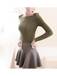 2016 Frühjahr neue koreanische Kragen Pullover Pullover feste Farbe Langarm-Shirt Stretch