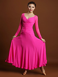 Ballroom Dance Dresses Women Performance Tulle Viscose Pleated 1 Piece Long Sleeve Natural Dress