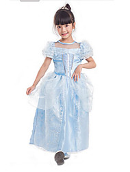Cosplay Costumes Party Costume Kids Princess Cinderella Festival/Holiday Halloween Costumes Blue Patchwork DressHalloween Christmas Carnival