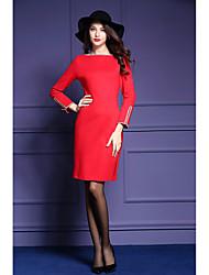 Frau&# 39; s 2016 Herbst neue Pendler einfachen langärmeligen roten Kleid Paket Hüfte Rock grundierendes