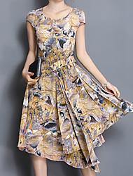 Courte Robe Femme Sortie Décontracté / Quotidien Grandes Tailles simple Chic de Rue Chinoiserie,Tartan Col Arrondi Asymétrique ½ Manches