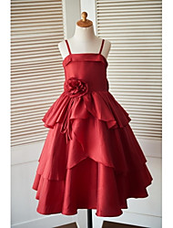 Princess Ankle-length Flower Girl Dress - Taffeta Sleeveless Spaghetti Straps with Bow(s) Flower(s)