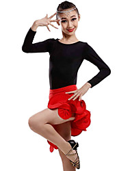 Latin Dance Outfits Children's Performance Milk Fiber Side-Draped 2 Pieces Long Sleeve Natural Top Skirt