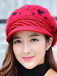 Frauen gewebt Pfirsichherz Kaninchen gedruckt Ski Outdoor Strickwaren Vintage lässig Hut