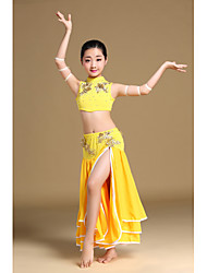 Belly Dance Outfits Children's Performance Chiffon Polyester Cascading Ruffle Crystals/Rhinestones 2 Pieces Sleeveless Dropped Skirt Bra