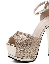 High Heels-Kleid-Stoff-Stöckelabsatz-Club-Schuhe-Silber Gold