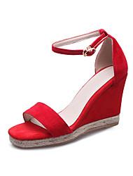 Tacón Cuña-Zapatos del club-Sandalias-Oficina y Trabajo Fiesta y Noche Vestido-Cachemira-Negro Rojo