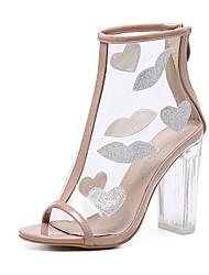 Sandálias-Shoe transparente-Salto Grosso-Amêndoa-Borracha-Social