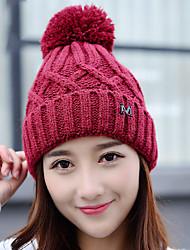 'S inverno cor sólida lã além de cashmere m lã simples mulheres de malha chapéu morno