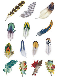 1.3*2.7in Cover scratches stickers Colorful feathers stickers for car (12pcs)02