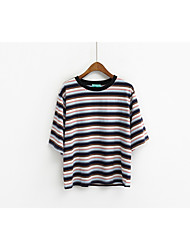Korean mixed colors exclusive orders Striped pinstripe loose thin bat sleeve short-sleeved T-shirt tide