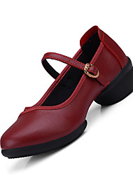 Non Customizable Women's Dance Shoes Leather Leather Modern Oxfords Chunky Heel Indoor Black Red White