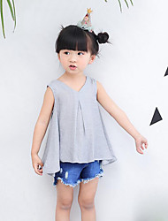 Casual/Daily Beach Holiday Solid Tee,Cotton Summer Sleeveless Short