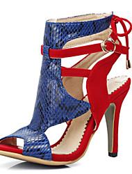 Sandalen-Kleid Lässig-Vlies Lackleder-Stöckelabsatz-Neuheit Gladiator Club-Schuhe-Schwarz Rot