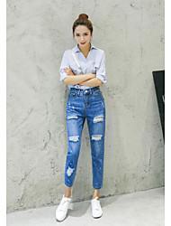 assinar 2017 novos laca coreano buraco ponto de jeans pés era selvagem fina
