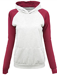 Women's Casual/Daily Sports Going out Hoodie Color Block V Neck Micro-elastic Cotton Polyester Long Sleeve Spring Summer