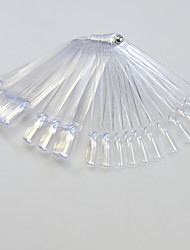 1set 50tips Transparent Nail Art Fan Board With Metal Nail Manicure Tools Nail Art False Tips For UV Polish Decoration