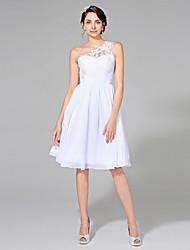 LAN TING BRIDE A-line Wedding Dress - Elegant & Luxurious Little White Dress Knee-length One Shoulder Chiffon with Appliques Sash / Ribbon