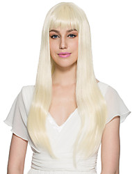 Kinky Straight Wig Bleach Blonde Wig Synthetic Fiber With Neat Bangs Cosplay Party Wig Hairstyle
