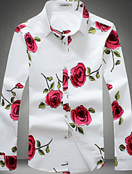 Casual/Daily Simple Fall Shirt,Floral Tab Collar Long Sleeve White Black Cotton Thin