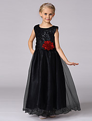 принцесса длина длина цветок девушка платье - сатин без рукавов жемчужина шеи с блестками by baihe