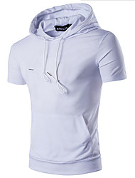 Solide Einfach Lässig/Alltäglich T-shirt,Rundhalsausschnitt Kurzarm Blau Rot Weiß Schwarz Grau Grün Orange Gelb Baumwolle
