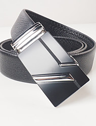 Men's casual fashion black head layer cowhide litchi lines automatically grind arenaceous black belt with silver agio with body is about 3.6 cm wide