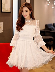 DABUWAWA Women's Lace Going out Casual/Daily Party Vintage Street chic Sophisticated Sheath Lace Swing DressSolid Stand Above Knee Long Sleeve