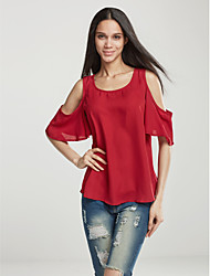 Spring Fashion Women's Sexy Strapless Round Neck ½ Length Sleeve Solid Color Chiffon Shirt Blouse Tops
