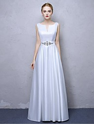 Formal Evening Dress A-line V-neck Ankle-length Satin Chiffon with Crystal Detailing