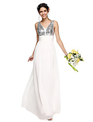 LAN TING BRIDE Floor-length V-neck Bridesmaid Dress - Sparkle & Shine Sleeveless Chiffon Sequined