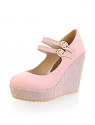 Women's Heels Spring Fall Comfort Leatherette Office & Career Dress Casual Wedge Heel Buckle Yellow Pink Beige