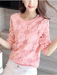 Damen Solide Einfach Lässig/Alltäglich T-shirt,Rundhalsausschnitt Frühling Sommer Langarm Rosa Rot Polyester Mittel
