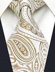 AXL6 Men's Neckties Beige Paisley 100% Silk Dress Casual Business For Men