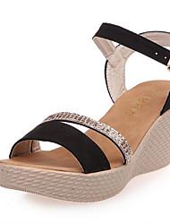 Sandals Spring Summer Fall Comfort Fabric Dress Casual Wedge Heel Rhinestone Black Red Almond