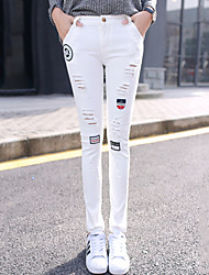 Women's Plus Size Slim Jeans Chinos Pants Casual/Daily Street chic Ripped Embroidered High Waist Zipper Button Cotton All Seasons