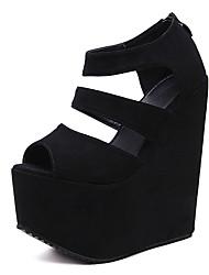 Sandali-Formale-Club Shoes-Zeppa-Felpato-Nero Rosa