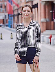 Women's Casual/Daily Vintage Spring Summer Shirt,Striped Stand Long Sleeve Black Silk Translucent