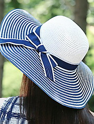 Women Fashion Black and White Striped Butterfly Straw Hat Holiday Travel Sunscreen Beach Cap