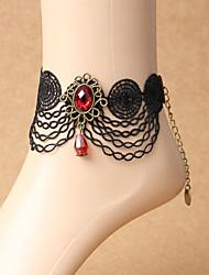Femme Bracelet de cheville/Bracelet Dentelle Mode Bohême Fait à la main Forme de Fleur Noir Aux femmes Bijoux Soirée Quotidien Décontracté