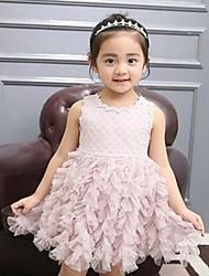 Girl's Solid Dress,Polyester Summer Sleeveless