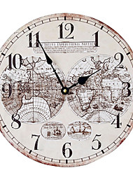 Rétro Horloge murale,Rond Bois Intérieur Horloge