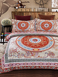 Geometric Duvet Cover Sets 4 Piece Polyester Pattern Reactive Print Polyester Queen 1pc Duvet Cover 2pcs Shams 1pc Flat Sheet