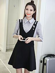 Sign 2017 Spring Korean women striped shirt strap dress A-line dress fashion piece