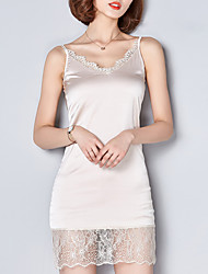 Fashion Elegant Spring V Collar Breathable Comfortable Lace Stitching Daily Leisure Home Must Harness Dress