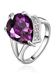 Alliances Occasion spéciale Quotidien Décontracté Bijoux Cristal Zircon Cuivre Plaqué or Bague 1pc,8 Violet