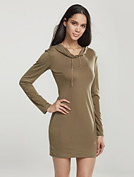 Women's Casual/Daily Simple Shift DressSolid Round Neck Above Knee Long Sleeve Black / Green Cotton