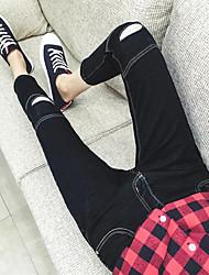 Homme Slim Jeans Pantalon,Décontracté / Quotidien Bohème Couleur Pleine Taille Normale fermeture Éclair Coton Micro-élastiqueSangle