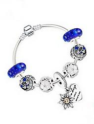Women's Girls´ Chain Bracelet Sterling Silver Crystal Natural Friendship Fashion Star Heart Cut Blue Jewelry 1pc